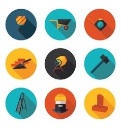 flat icons construction walls vector image