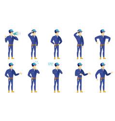 set of mechanic characters vector image vector image