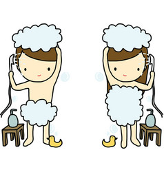 Showering boy and girl vector image vector image
