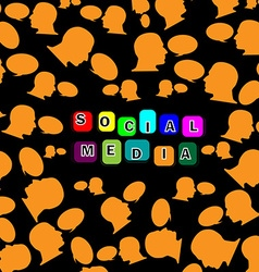 Silhouette head social networking background1 vector image vector image