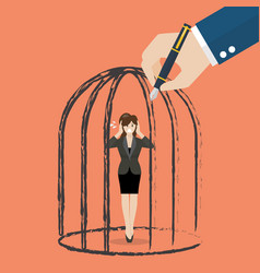 business woman standing in a hand drawn cage vector image vector image