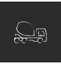 Concrete mixer truck icon drawn in chalk vector image vector image