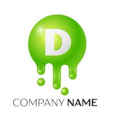 d letter splash green dots and bubbles letter vector image