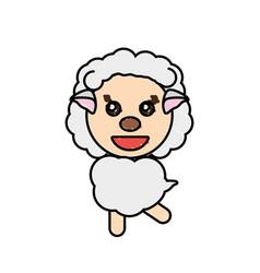 drawing sheep animal character vector image vector image