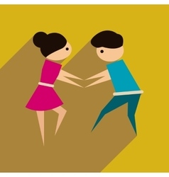 Flat web icon with long shadow dancers couple vector