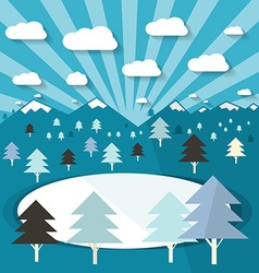 Winter Landscape with Trees and Lake Blue Flat vector image vector image