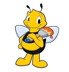 Cartoon Painter Bee vector image vector image
