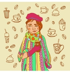 Cute little girl with coffee Coffee time vector image