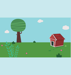 dog home in garden with sky vector image vector image