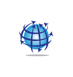 globe with lines and arrows vector image
