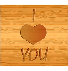 Wood texture with love vector image