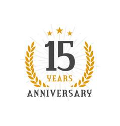 15 years anniversary golden laurel wreath logo vector