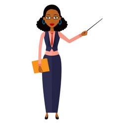 African business teacher woman presenting vector
