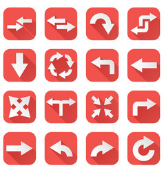arrows set collection of square red icons with vector image