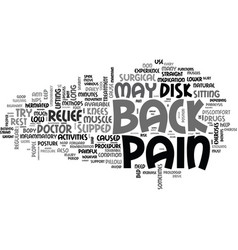 back pain relief text word cloud concept vector image