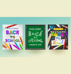 Back to school - set of banners vector