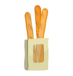 baguettes in paper package isolated on white vector image