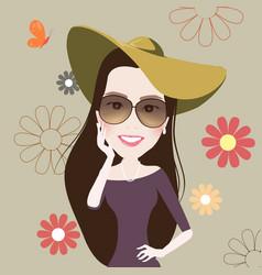 beautiful fashion girl smile cute retro vintage vector image