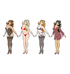 beautiful girl in various lingerie set vector image