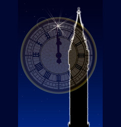 big ben new years clock face vector image