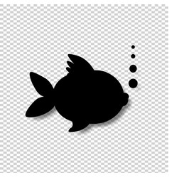black silhouette of goldfish with bubbles vector image