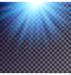 Blue rays from top with shiny particles vector image