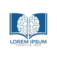 Book brain logo design vector