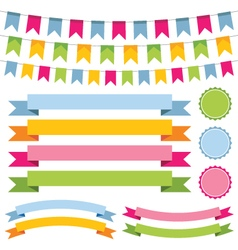 bunting banner ribbons and labels set vector image