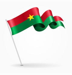 Burkina faso pin wavy flag vector