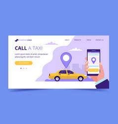 call a taxi landing page concept vector image
