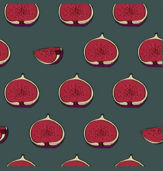 calligraphy fig seamless dark pattern vector image