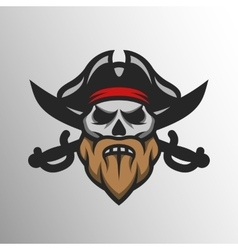 Captain Pirate Skull and crossed sabers vector image