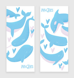 card with blue whale vector image