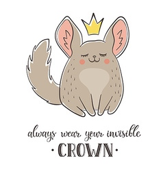 Cartoon chinchilla with crown vector image