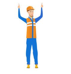 caucasian builder standing with raised arms up vector image