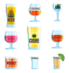 collection various drinks and glasses beer vector image