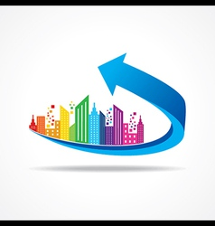 Colorful cityscape on business arrow stock vector image