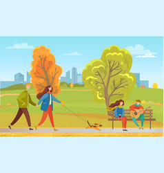 couples in autumn city park walking pet together vector image