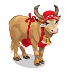Cow housewife in red cap and apron vector