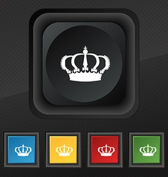 Crown icon symbol Set of five colorful stylish vector