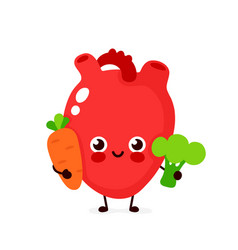 cute healthy happy heart character vector image