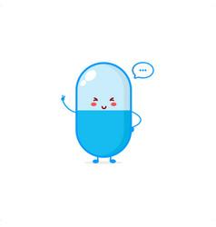Cute pill character smile happy mascot logo kids vector