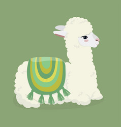 Cute white fluffy alpaca on a green background vector