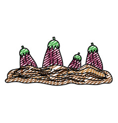 Doodle healthy eggplant fresh vegetable cultivated vector
