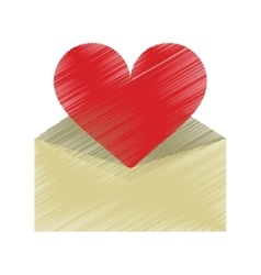 drawing valentines day romantic mail heart vector image