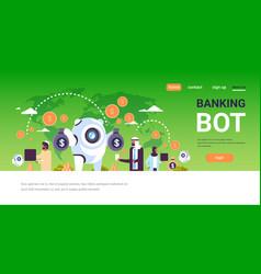 Electronic money banking bot arabic people using e vector
