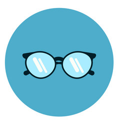 Eye glasses icon modern eyeglasses on blue round vector