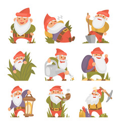 Fairy tale fantastic gnome dwarf elf character vector