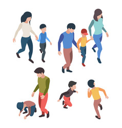 family isometric people father mother children vector image