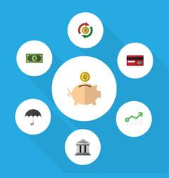 Flat icon gain set greenback money box vector